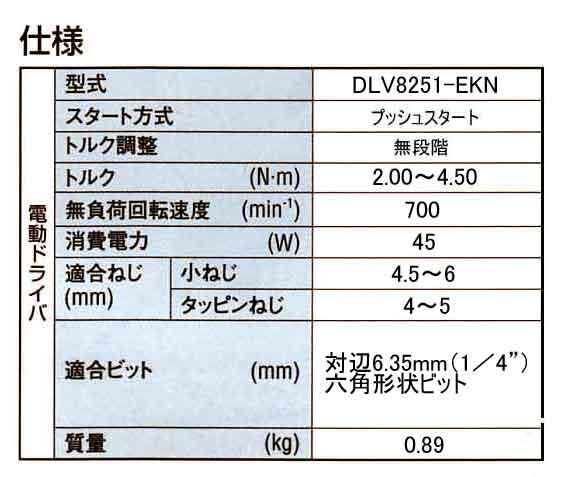 DLV8251仕様